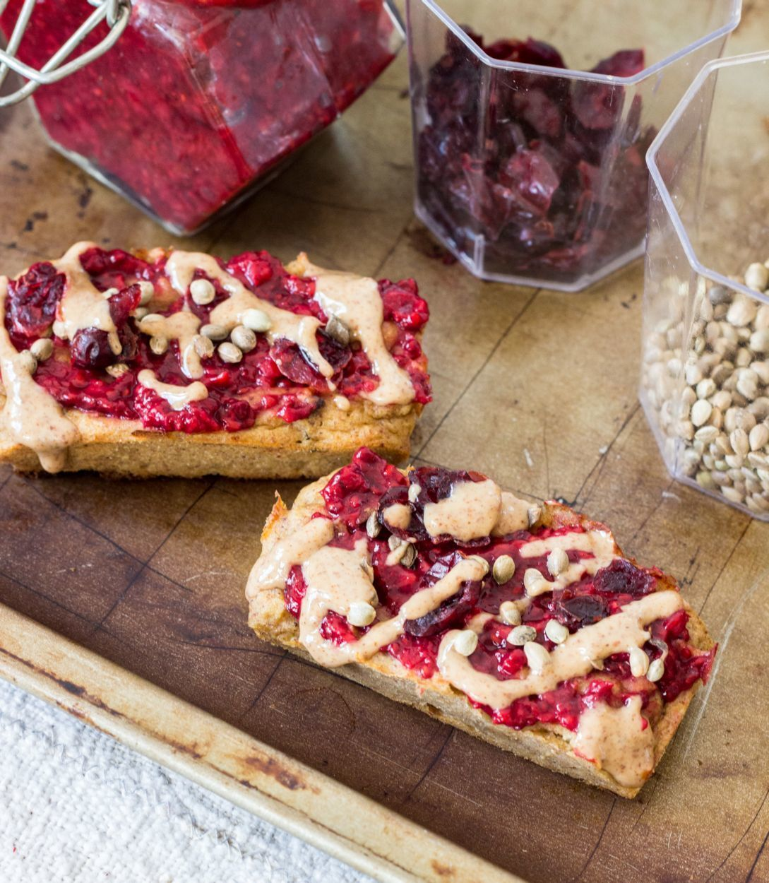 Vegan sweet potato bars with chia raspberry spread and sprinkles