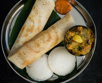 Idli Vada Dosa Breakfast Menu 1 | South Indian Brunch Ideas | Idli, Dosa, Vada Curry, Tomato Chutney, Coffee – South Indian Tiffins for Breakfast