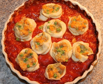 Roasted Butternut Squash Stuffed Pasta, Baked in a Rich Tomato Sauce