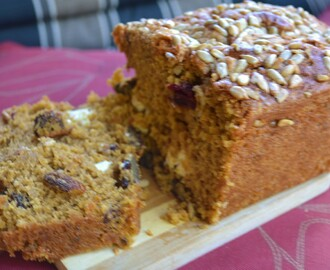 Ultimate, Moist Pumpkin Bread (with cherries, nuts, sunflower seeds and cream cheese)