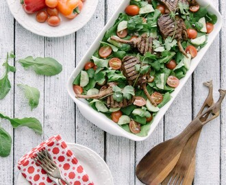 Yoga, butterflies and cumin lamb salad
