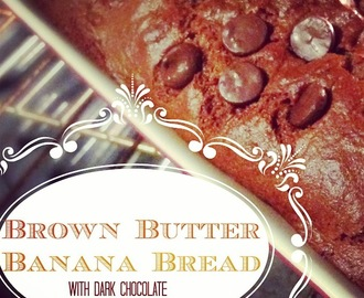 Easy Brown Butter Banana Bread with Dark Chocolate- Gluten Free