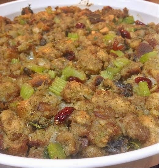 Hearty Fig, Pepita and Maple Bread Stuffing with Sausage and Fresh Herbs