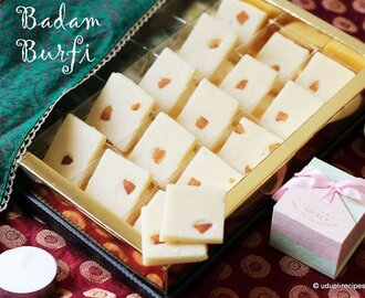 Badam Burfi | Almond Burfi Recipe (No milk, No ghee) | Diwali Sweets