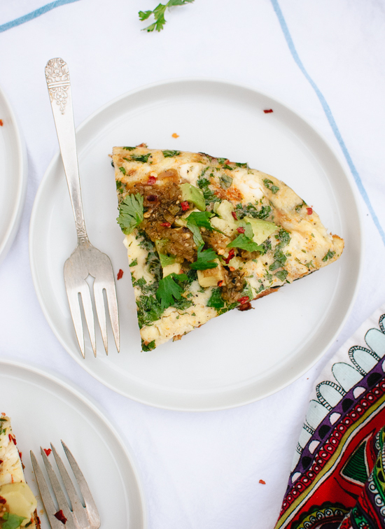 Caramelized Sweet Potato, Red Pepper and Feta Frittata