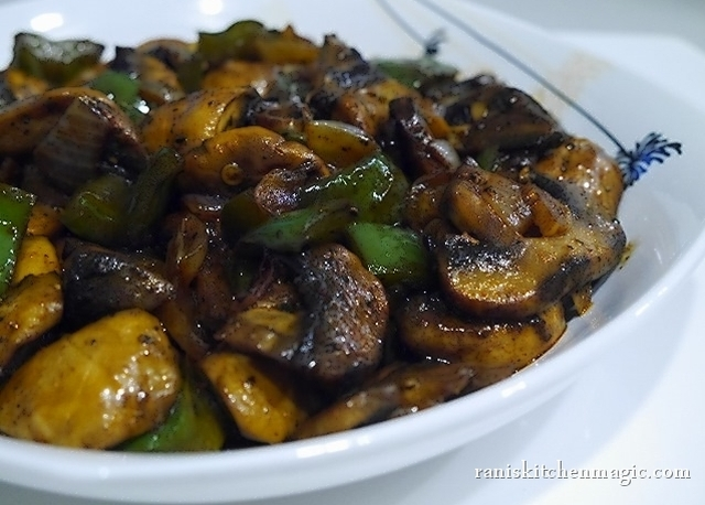 Mushroom and Capsicum Stir Fry (Indochinese Style)
