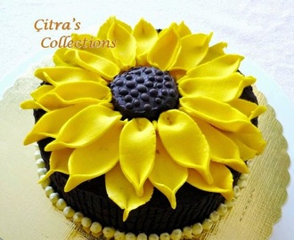 Steamed Chocolate Brownies with Sun flower decoration for Mother's Day