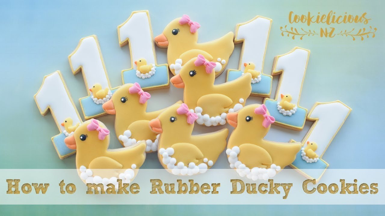 HOW TO MAKE CUTE RUBBER DUCKY & NUMBER#1 COOKIES - Step by step tutorial