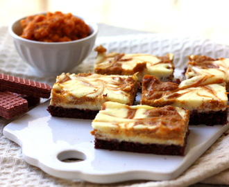 Pumpkin Cheesecake Bars with Chocolate Wafer Crust