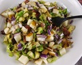 Paleo Brussels Sprouts Slaw with Warm Bacon Dressing