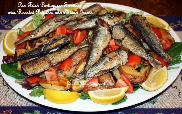 Pan Fried Portuguese Sardines over Roasted Red Potatoes & Mixed Salad Greens