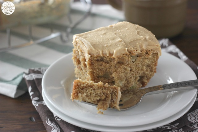 Peanut Butter Apple Snack Cake with Peanut Butter Frosting