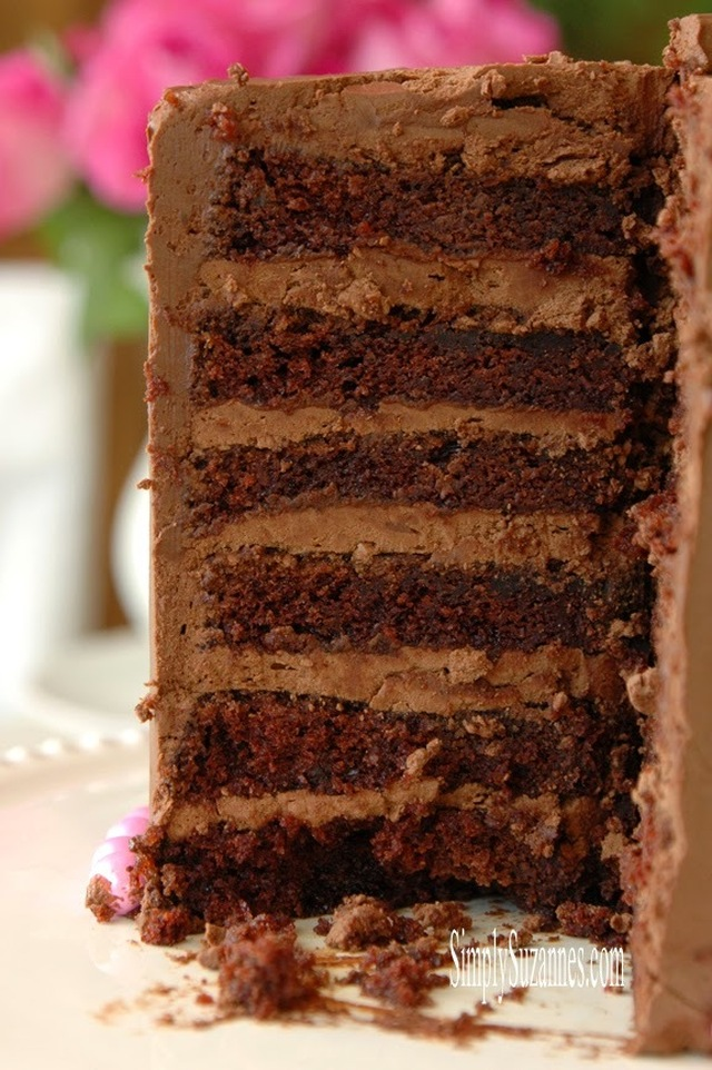 """the best ever"" moist & delicious chocolate cake with chocolate buttercream frosting"