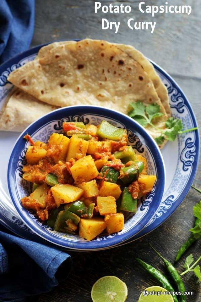 Potato Capsicum Dry Curry | Chapati Side Dish