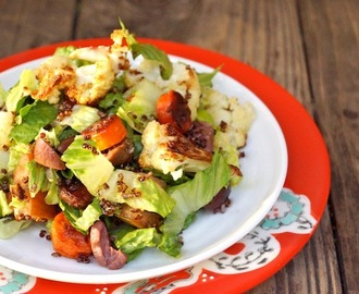 Roasted Vegetable Citrus Salad with Quinoa Crisps