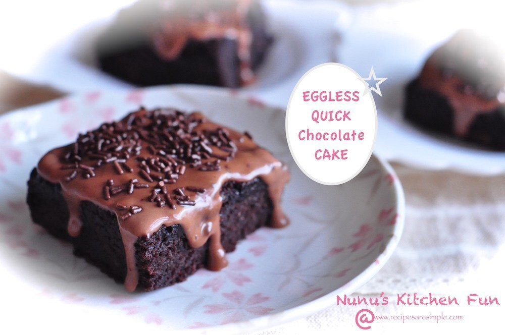 Eggless Chocolate Cake – No eggs, butter, milk or bowls