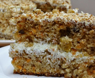 Moist Carrot Cake with Coconut Cream Frosting and Peanut Praline