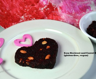 Easy Beetroot and Carrot Fudge/ Halwa- Valentine's Day Special (Gluten-free, Vegan)