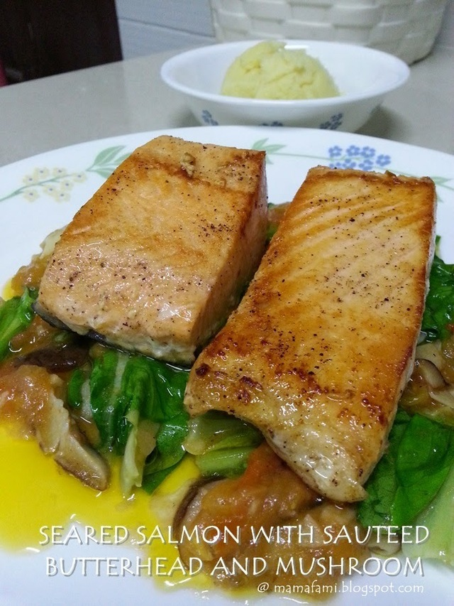 Seared Salmon with Sauteed Butterhead and Mushroom