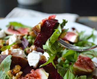 Autumn Salad With Maple Glazed Walnuts + Fig Vinaigrette