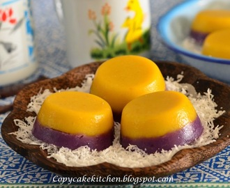 Steamed Pumpkin & Purple Sweet Potato Cake 双色金瓜紫蕃薯糕