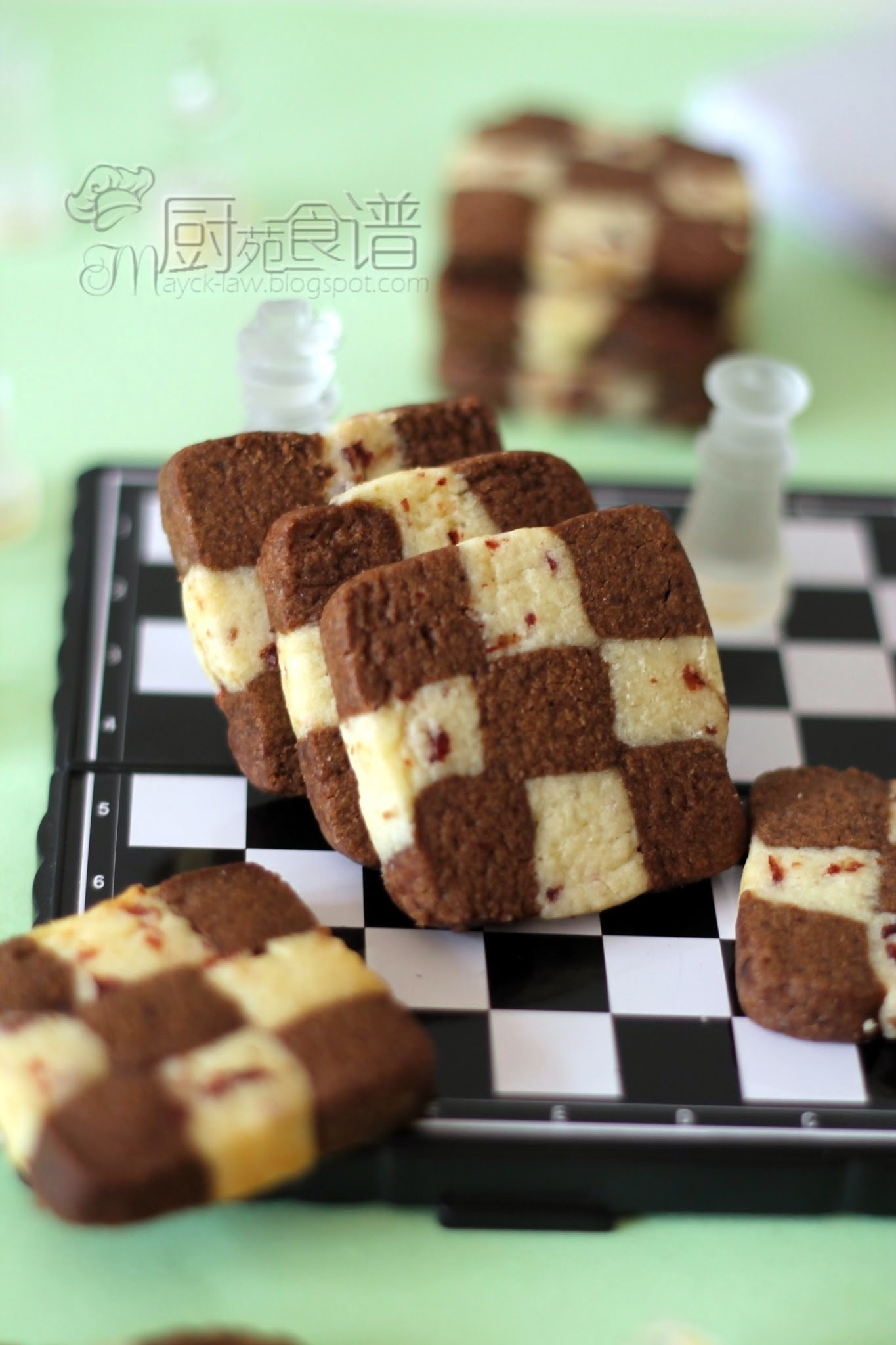 棋格饼干 (Chocolate and Cranberry Checkerboards Cookies)