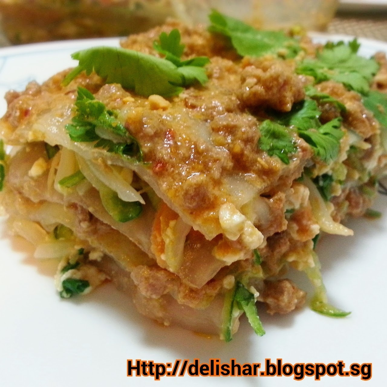 Asian Lasagne (Thai Beef Curry Layered with Asian Tofu Salad)
