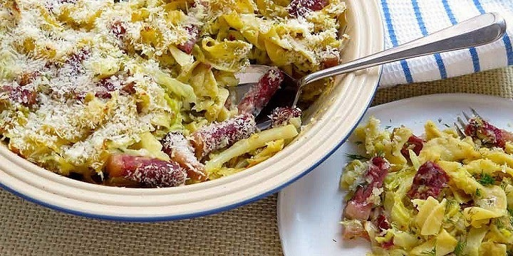 Corned Beef and Cabbage Casserole with chopped dill