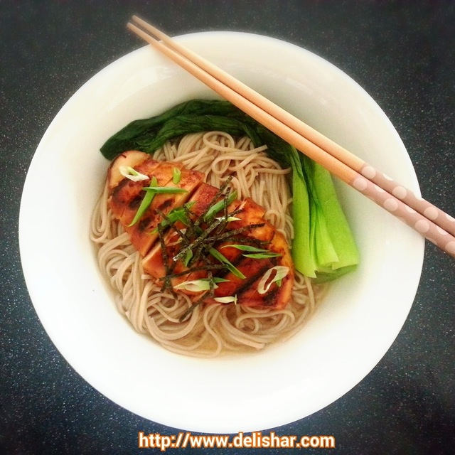 Grilled Chicken on Ginger Miso Soba