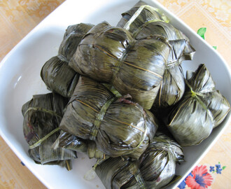 Bamboo Leaf Alkaline Dumpling With Red Bean Paste 豆沙碱水粽子