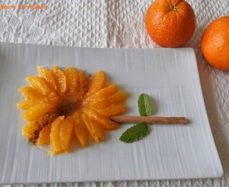 Salade d'oranges, cannelle, eau de fleur d'oranger (Salad of oranges, cinnamon, orange blossom water)