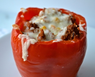 Ground Turkey and Corn Stuffed Bell Peppers