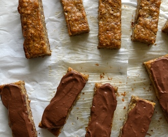 Banana Bread Cake Bars with Dark Chocolate Peanut Butter Almond Ganache