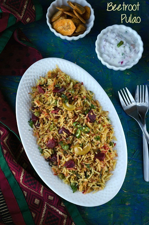 Beetroot Pulao /Beetroot Rice