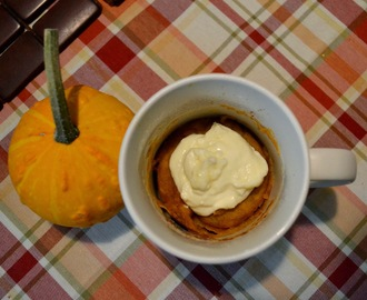 Pumpkin Mug Cake with Cream Cheese Frosting