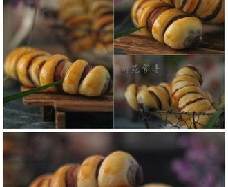 毛毛虫豆沙面包 (Caterpillar Buns~Red Bean)