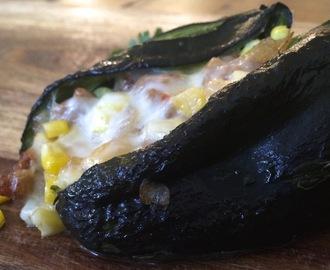 Sausage & Corn Stuffed Poblano Peppers with Roasted Tomatillo Salsa