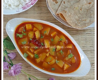Rasawala Bateta nu Shaak - Gujarati Style No Onion / No Garlic Potato Gravy Curry