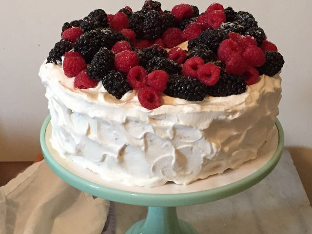 Orange Angel Food Cake, Whipped Cream Frosting And Berries For Fiesta Friday #60