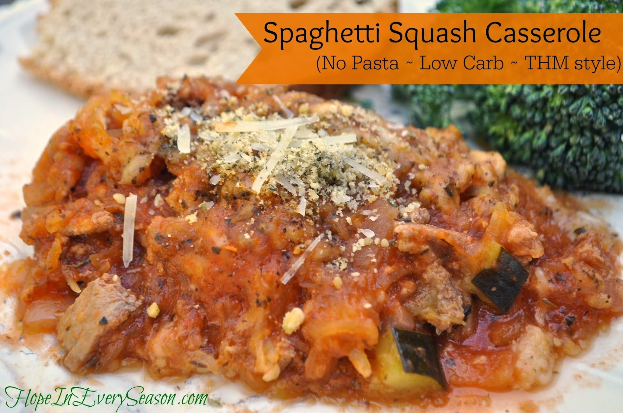 The Homemaking Party: Spaghetti Squash Casserole (No Pasta Spaghetti ~ Low Carb ~ THM Style)