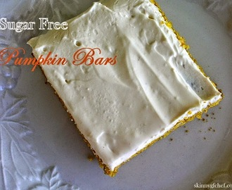 Healthy Holiday Pumpkin Bars, gluten free and sugar free, with cream cheese frosting