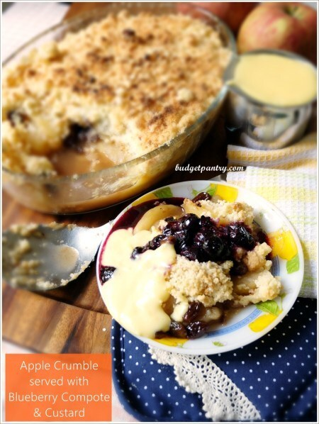 Easy Apple Crumble with Custard and Blueberry Compote