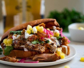 Smoked Pulled Pork Sandwich with Pineapple