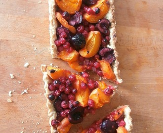 Tarte aux groseilles, cerises et abricots sur pâte sucrée aux flocons d'avoine (Pie with currants, cherries and apricots on sweet dough oatmeal)