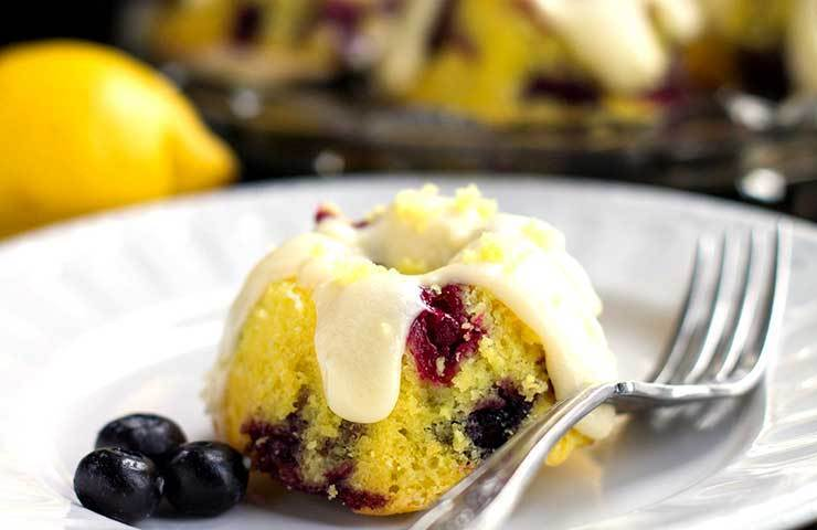 Easy One Bowl Lemon Blueberry Cake with Cream Cheese Frosting