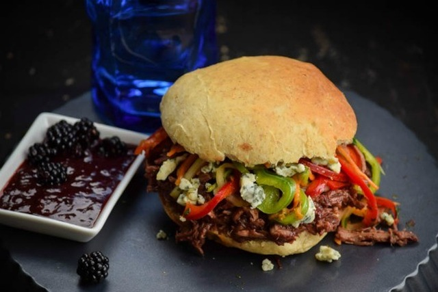 Blackberry BBQ Sauce Pulled Pork Sandwiches & Cilantro Pepper Slaw