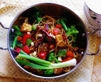 Spicy Kung Pao Style Chinese Noodles and Tofu Stir Fry