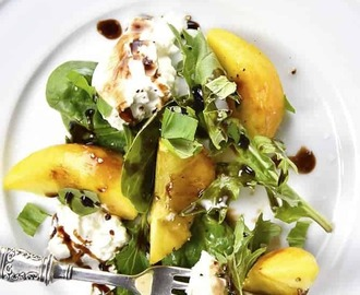 Fresh Peach, Basil and Burrata Salad Recipe