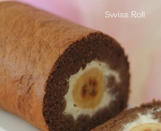 2周年部落格~巧克力香蕉蛋糕卷 (2nd anniversary ~ Chocolate Banana Swiss Roll)