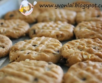 巧克力粒和杏仁饼干Chewy Chocolate Chip and Almond Cookies